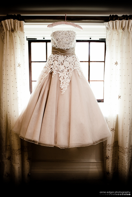 cocktail length cream and lace wedding dress