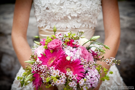 pink gerber wedding bouquet