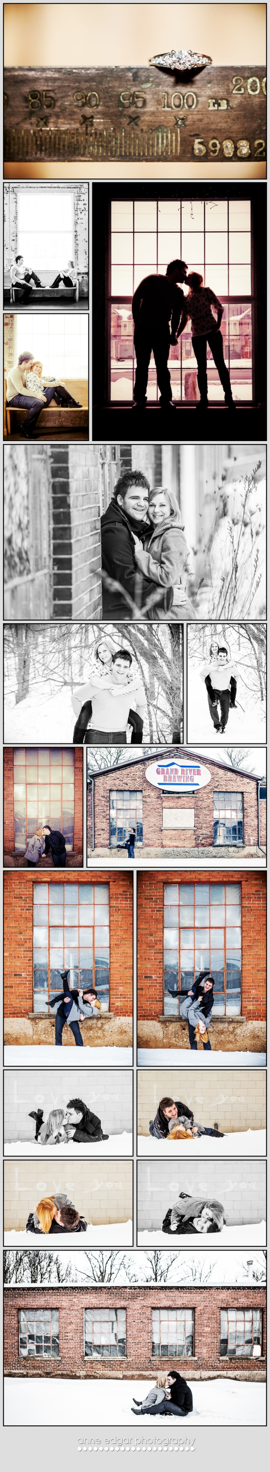 engagement photos at Grand River Brewery, Cambridge, Ontario