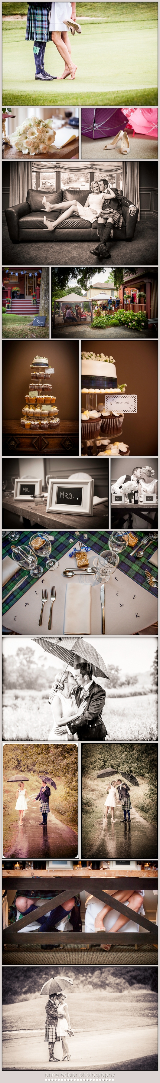 Scottish Canadian wedding, blue and green tartan