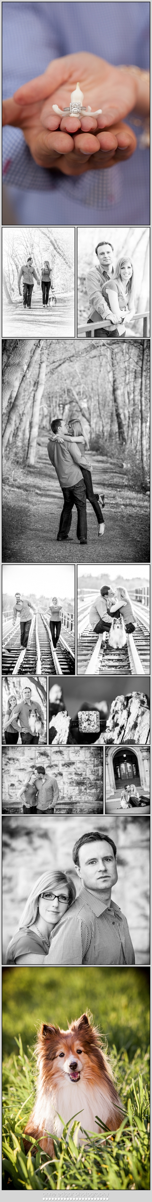 beautiful engagement photos on train tracks in spring sunshine
