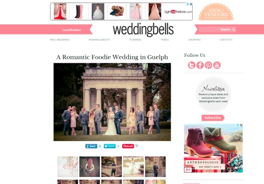 published in Wedding Bells magazine Cutten Fields wedding Anne Edgar Photography