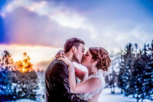 January Canadian winter wedding sunset